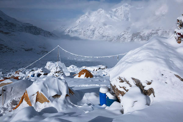 Our Base Camp after another snowy night