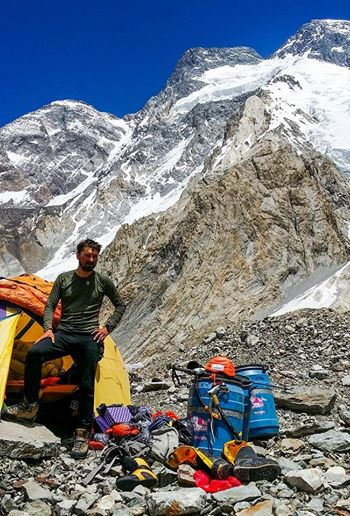 Alex Gavan at Broad Peak base camp after mount summit