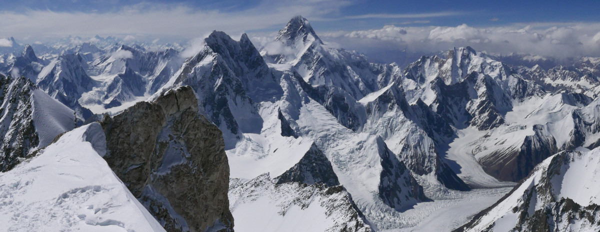 Caption View from the summit of Gashebrum 2(8035m) towards Broad Peak (8047m) and K2 (8611m, the highest mountain visible in the photo) - Photo Alex Gavan.jpg